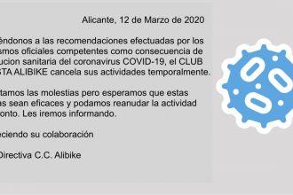 EL CLUB CICLISTA ALIBIKE CANCELA SU ACTIVIDAD TEMPORALMENTE POR EL COVID 19